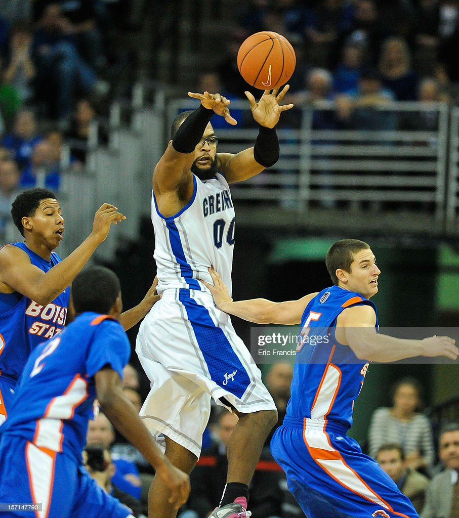 Gregory Echenique #0 of the Creighton Bluejays passes the ball against the Boise State Broncos during their game at CenturyLink Center on November 28, 2012 in Omaha, Nebraska. Boise State beat Creighton 83-70.