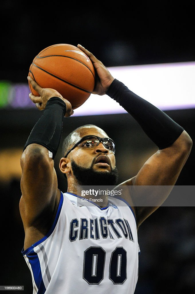 Gregory Echenique #0 of the Creighton Bluejays puts up a free throw during their game against the Presbyterian Blue Hose at CenturyLink Center on November 18, 2012 in Omaha, Nebraska.