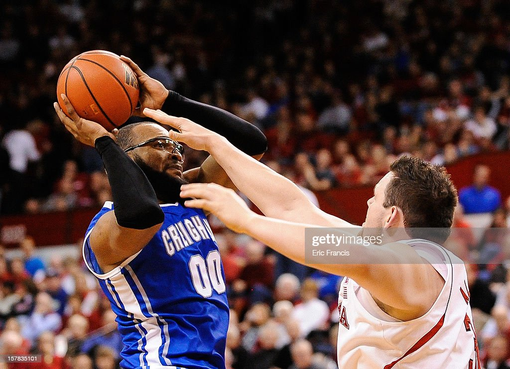 <a gi-track='captionPersonalityLinkClicked' href=/galleries/search?phrase=Gregory+Echenique&family=editorial&specificpeople=5648736 ng-click='$event.stopPropagation()'>Gregory Echenique</a> #0 of the Creighton Bluejays shoots over Andre Almeida #32 of the Nebraska Cornhuskers during their game at the Devaney Center on December 6, 2012 in Lincoln, Nebraska. Creighton defeated Nebraska 64-42.