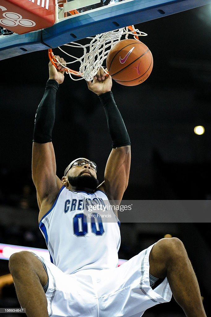 Gregory Echenique #0 of the Creighton Bluejays slams the ball home during their game against the Longwood Lancers at CenturyLink Center on November 20, 2012 in Omaha, Nebraska.