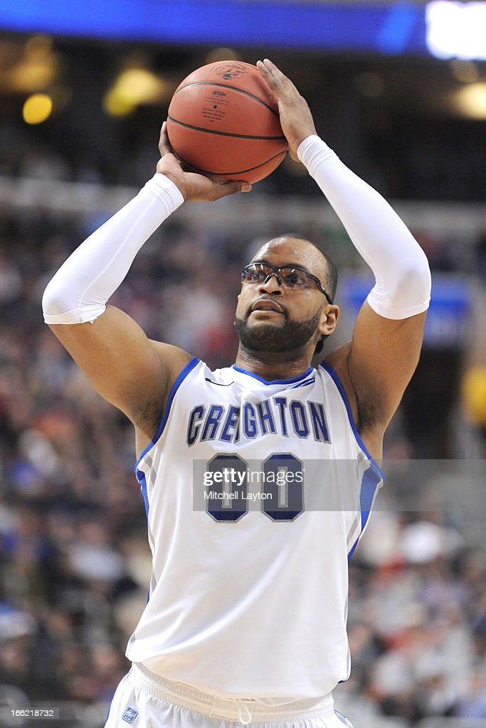 Gregory Echenique #00 of the Creighton Bluejays takes a foul shot during the second round of the 2013 NCAA Men's Basketball Tournament game against the Cincinnati Bearcats on March 22, 2013 at Wells Fargo Center in Philadelphia, Pennsylvania. The Bluejays won 67-63.