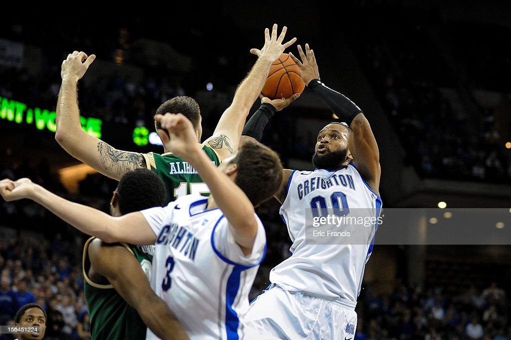 Gregory Echenique #0 of the Creighton Bluejays takes a shot over Fahro Alihodzic #15 of the UAB Blazers during their game at CenturyLink Center on November 14, 2012 in Omaha, Nebraska. Creighton beat UAB
