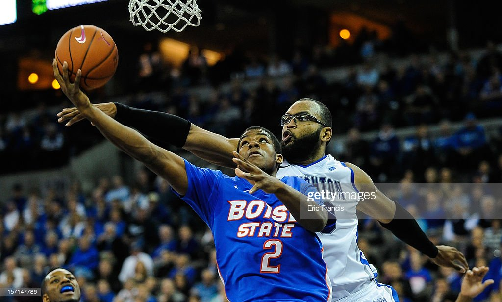Gregory Echenique #0 of the Creighton Bluejays tries to block the shot of Derrick Marks #2 of the Boise State Broncos during their game at CenturyLink Center on November 28, 2012 in Omaha, Nebraska. Boise State beat Creighton 83-70.