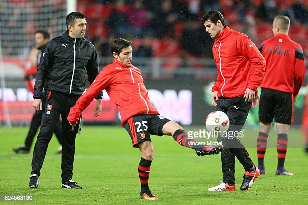 Gregory Gaillard and Yoann Gourcuff of Rennes during the Ligue 1 match between Stade Rennais and Sco Angers at Stade de la Route de Lorient on...