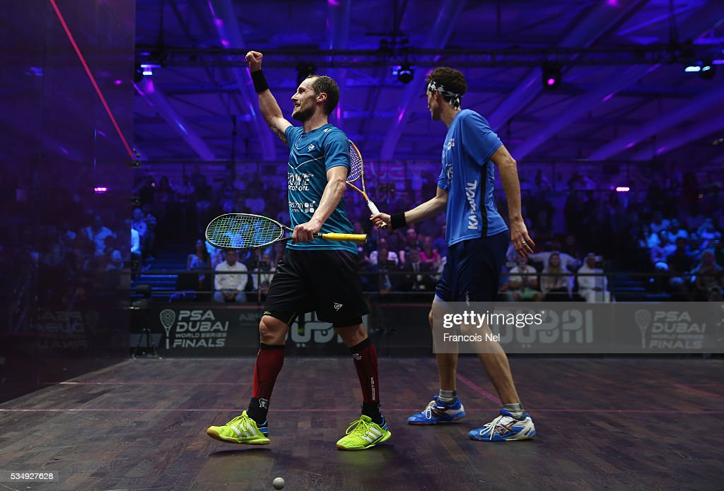 Gregory Gaultier of France celebrates a point during the men's final match of the PSA Dubai World Series Finals 2016 at Burj Park on May 28, 2016 in Dubai, United Arab Emirates.