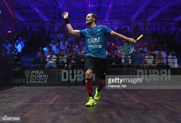 Gregory Gaultier of France celebrates a point during the men's final match of the PSA Dubai World Series Finals 2016 at Burj Park on May 28 2016 in...