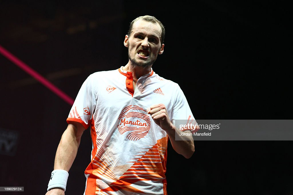 Gregory Gaultier of France celebrates after winning a game against Nick Matthew of England in the semi-final of the ATCO World Series Finals played at Queens Club on January 5, 2013 in London, England.