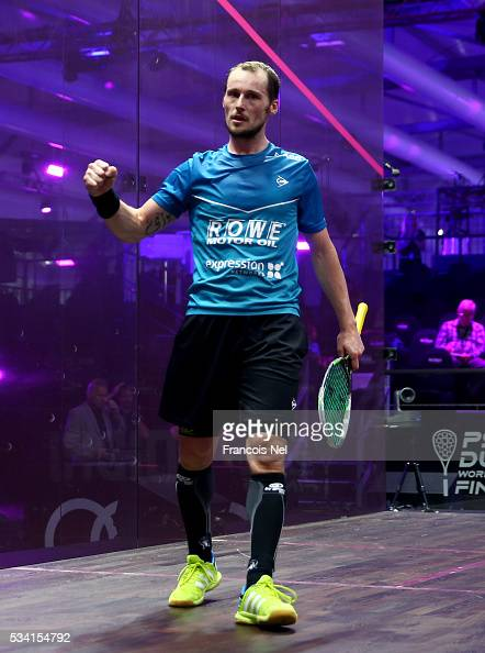 Gregory Gaultier of France celebrates after winning his match against Cameron Pilley of Australia during day two of the PSA Dubai World Series Finals...