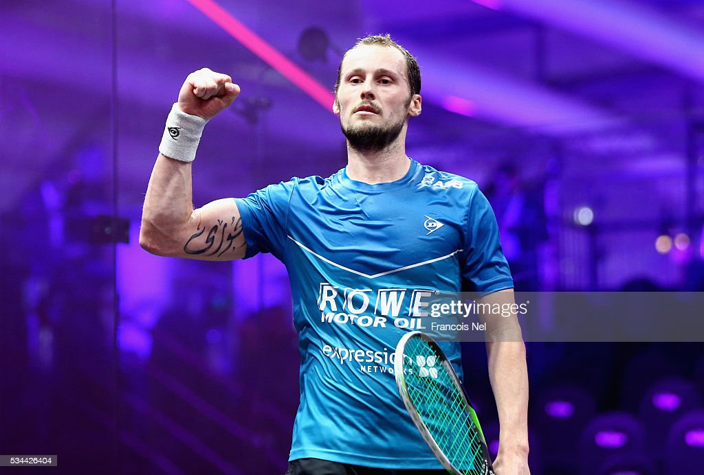 Gregory Gaultier of France celebrates winning his Men's singles match against Omar Mosaad of Egypt during day three of the PSA Dubai World Series Finals 2016 at Burj Park on May 26, 2016 in Dubai, United Arab Emirates.