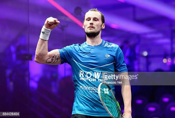 Gregory Gaultier of France celebrates winning his Men's singles match against Omar Mosaad of Egypt during day three of the PSA Dubai World Series...