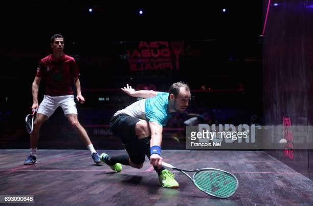Gregory Gaultier of France competes against Ali Farag of Egypt during day one of the PSA Dubai World Series Finals 2017 at Dubai Opera on June 6 2017...