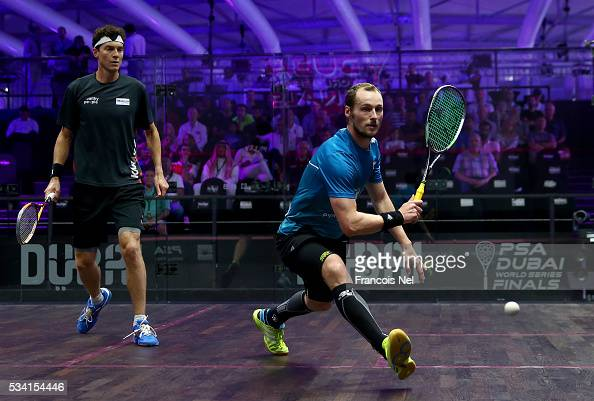Gregory Gaultier of France competes against Cameron Pilley of Australia during day two of the PSA Dubai World Series Finals 2016 at Burj Park on May...