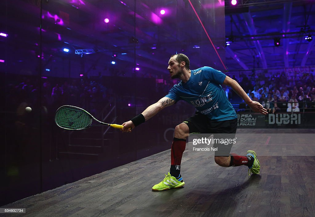 Gregory Gaultier of France competes against Cameron Pilley of Australia during the men's final match of the PSA Dubai World Series Finals 2016 at Burj Park on May 28, 2016 in Dubai, United Arab Emirates.