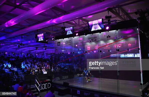 Gregory Gaultier of France competes against Cameron Pilley of Australia during the men's final match of the PSA Dubai World Series Finals 2016 at...