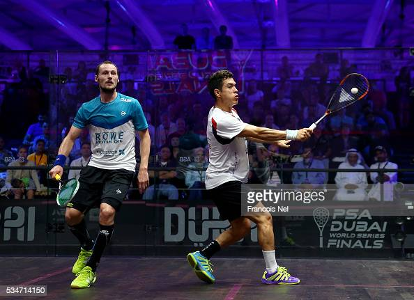 Gregory Gaultier of France competes against Miguel Angel Rodriguez of Colombia during day four of the PSA Dubai World Series Finals 2016 at Burj Park...