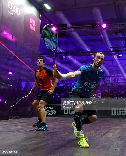 Gregory Gaultier of France competes against Omar Mosaad of Egypt during day three of the PSA Dubai World Series Finals 2016 at Burj Park on May 26...
