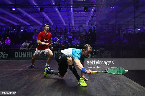 Gregory Gaultier of France competes against Simon Rosner of Germany during day one of the PSA Dubai World Series Finals 2016 at Burj Park on May 24...