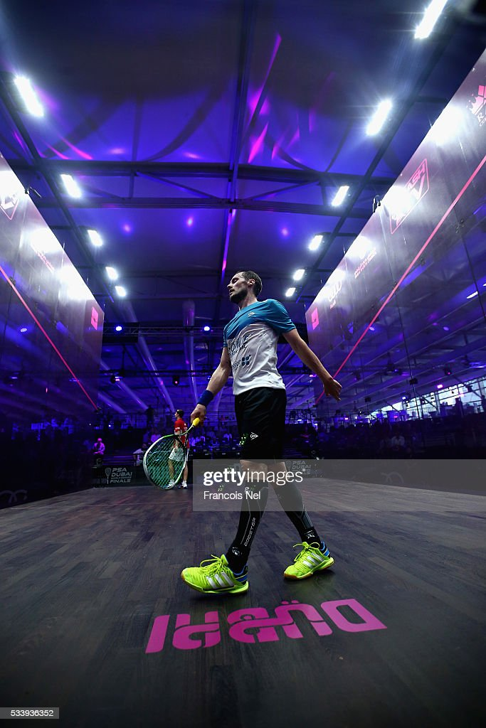Gregory Gaultier of France in action against Simon Rosner of Germany during day one of the PSA Dubai World Series Finals 2016 at Burj Park on May 24, 2016 in Dubai, United Arab Emirates.