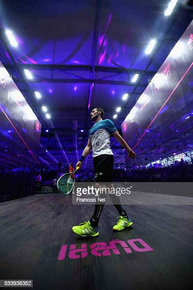Gregory Gaultier of France in action against Simon Rosner of Germany during day one of the PSA Dubai World Series Finals 2016 at Burj Park on May 24...