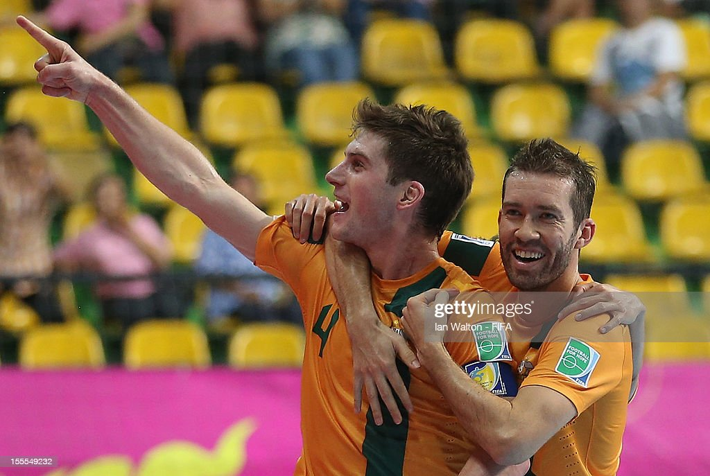 Gregory Giovenali of Australia celebrates scoring a goal during the FIFA Futsal World Cup Thailand 2012, Group D match between Australia and Mexico at Nimibutr Stadium on November 5, 2012 in Bangkok, Thailand.