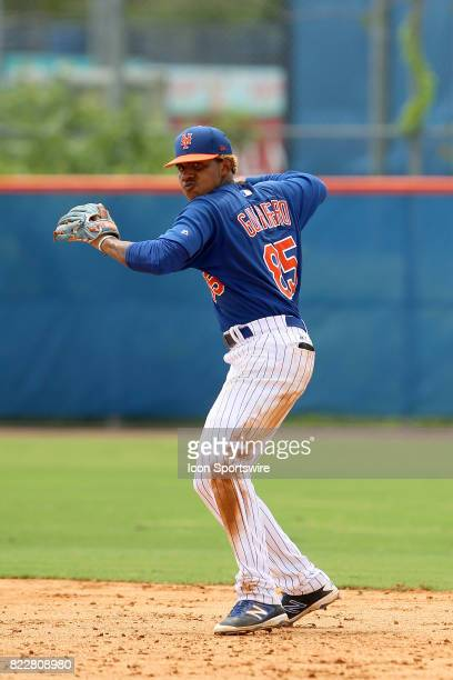 Gregory Guerrero of the Mets throws the ball over to first base during the Gulf Coast League game between the Marlins and the Mets on July 21 at the...