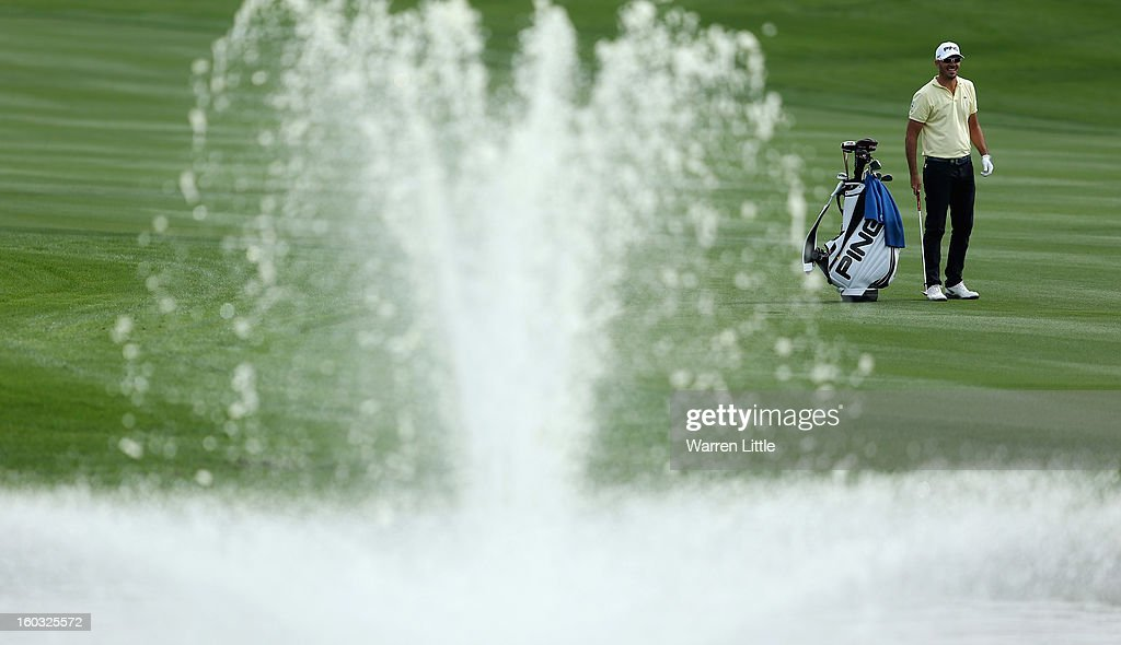 Gregory Havret of France in action during a practice round ahead of the Omega Dubai Desert Classic on January 29, 2013 in Dubai, United Arab Emirates.