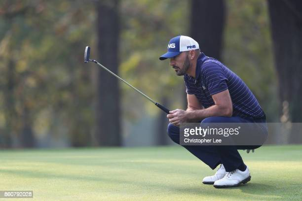 Gregory Havret of France lines up a putt during day two of the Italian Open at Golf Club Milano Parco Reale di Monza on October 13 2017 in Monza Italy
