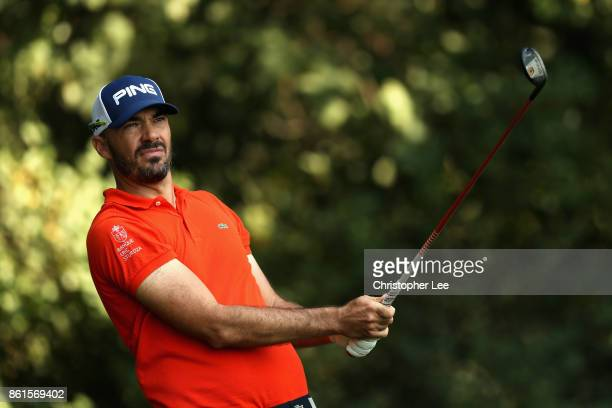 Gregory Havret of France plays a shot during the final round of the 2017 Italian Open at Golf Club Milano Parco Reale di Monza on October 15 2017 in...