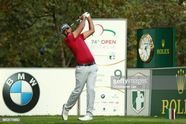 Gregory Havret of France plays of the tee on the 9th hole on Day One of the Italian Open at Golf Club Milano Parco Reale di Monza on October 12 2017...