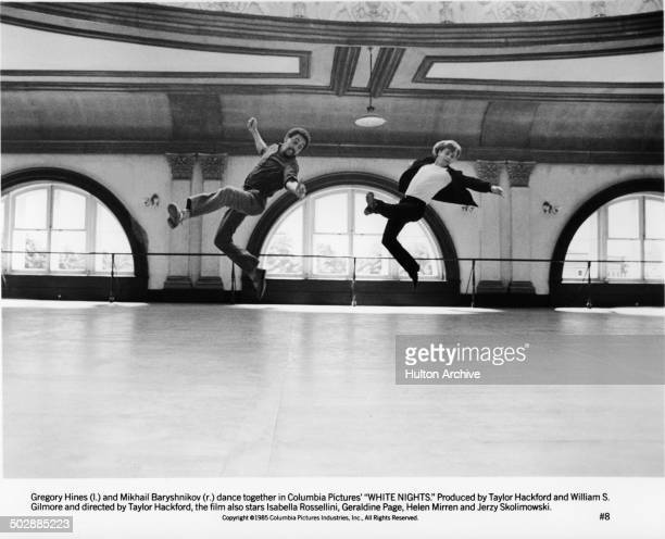 Gregory Hines and Mikhail Baryshnikov dance in a scene for the movie'White Nights' circa 1985