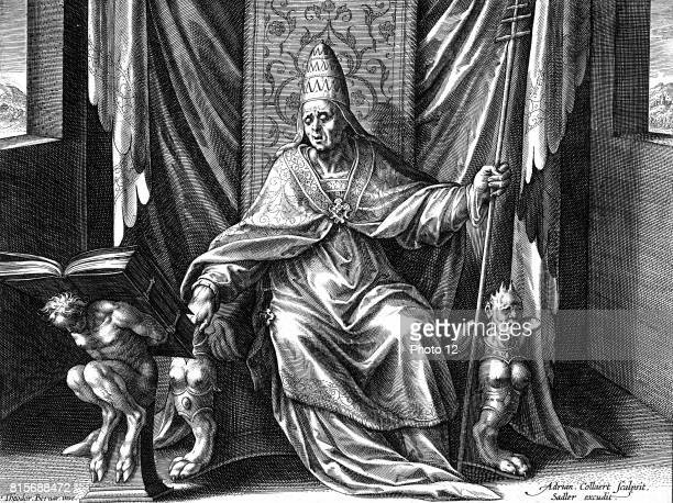 Gregory I The Great Pope from 590 Copperplate engraving by Adrian Collaert