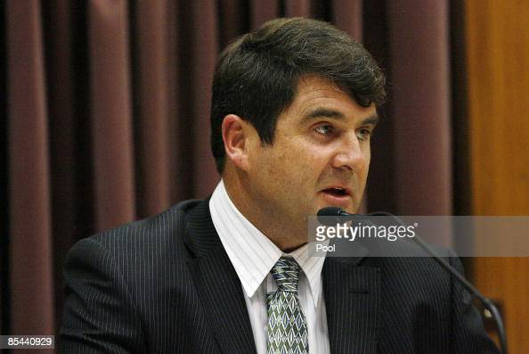 Gregory John Dunne from Dunedin Police gives evidence during the continuation of David Bain's retrial at Christchurch High Court on March 16 2009 in...