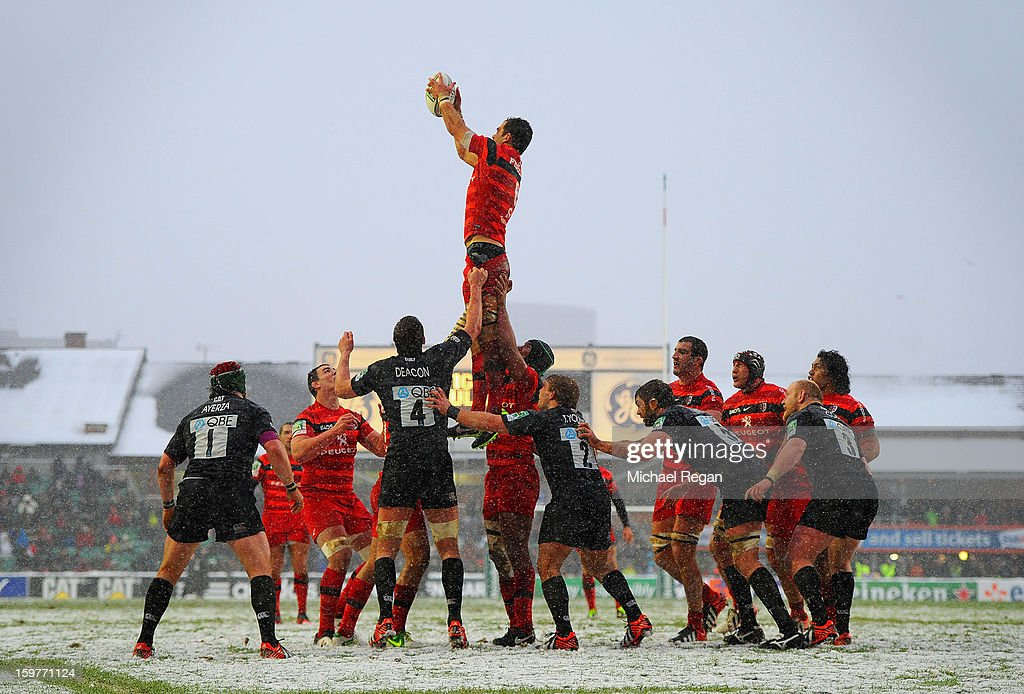 Gregory Lamboley of Toulouse wins a line out during the Heineken Cup match between Leicester Tigers and Toulouse at Welford Road on January 20, 2013 in Leicester, England.