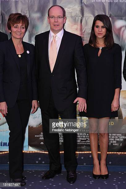 Gregory Lemarchal mother SAS Prince Albert II of Monaco and Karine Ferri attend the Gala Event Against Cystic Fibrosis At Cinema Le Sporting on...