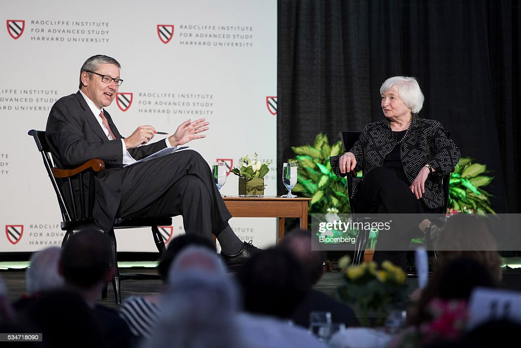 Gregory Mankiw, chairman and professor of economics department at Harvard University, left, speaks as <a gi-track='captionPersonalityLinkClicked' href=/galleries/search?phrase=Janet+Yellen&family=editorial&specificpeople=2731344 ng-click='$event.stopPropagation()'>Janet Yellen</a>, chair of the U.S. Federal Reserve, listens during a Radcliffe Day event at Harvard University in Cambridge, Massachusetts, U.S., on Friday, May 27, 2016. Yellen said the ongoing improvement in the U.S. economy would warrant another interest rate increase 'in the coming months,' stopping short of giving an explicit hint that the central bank would act in June. Photographer: Scott Eisen/Bloomberg via Getty Images