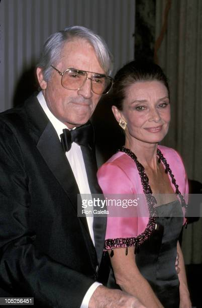 Gregory Peck and Audrey Hepburn during 1st Annual Lighthouse for the Blind Winternight Awards Gala at Waldorf Astoria in New York City New York...