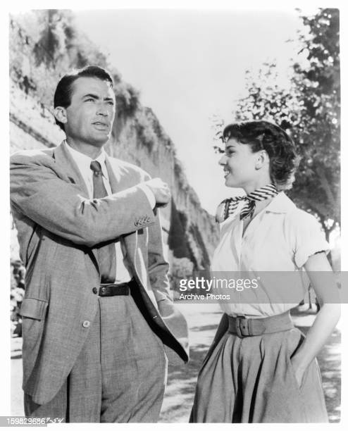 Gregory Peck and Audrey Hepburn in a scene from the film 'Roman Holiday' 1953