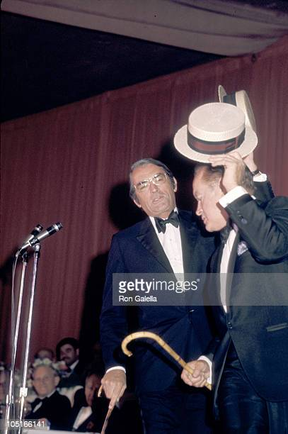 Gregory Peck and Bob Hope during Friar's Club Dinner at Waldorf Astoria Hotel in New York City New York United States