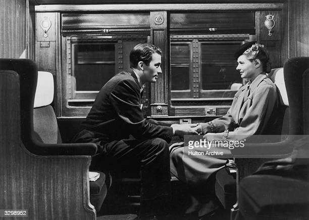Gregory Peck and Ingrid Bergman star as a psychiatrist and her patient in the film 'Spellbound' directed by Alfred Hitchcock for David O Selznick...