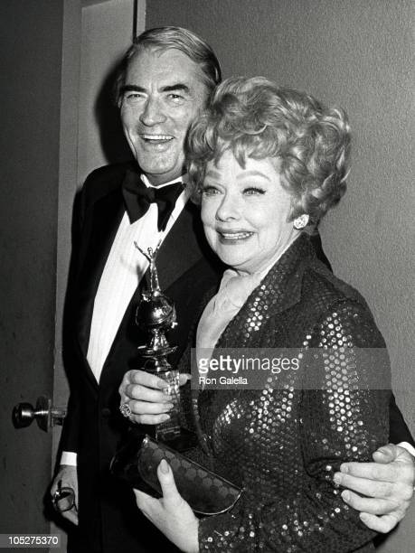 Gregory Peck and Lucille Ball during 36th Annual Golden Globe Awards at Beverly Hilton Hotel in Beverly Hills California United States