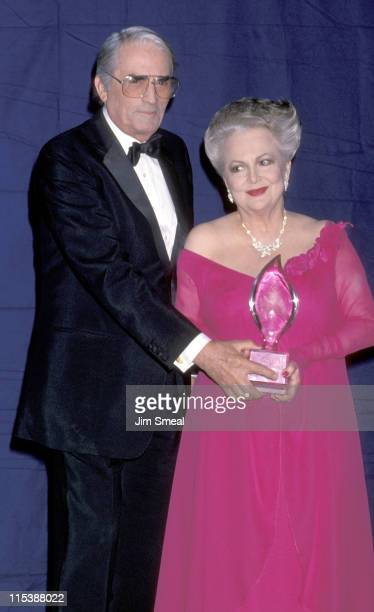 Gregory Peck and Olivia de Havilland during The 15th Annual People's Choice Awards at Disney Studios in Burbank California United States
