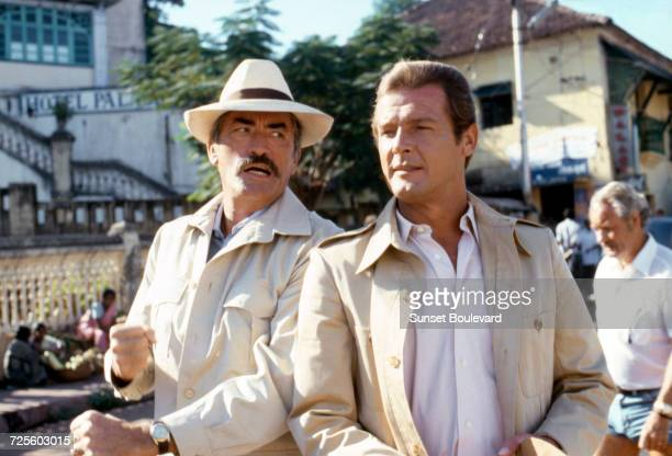Gregory Peck and Roger Moore in 'The Sea Wolves' directed by Andrew V McLaglen Goa India 1980