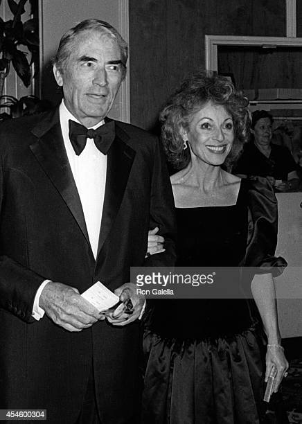 Gregory Peck and Veronique Peck attend Gala Evening In Monaco Benefit on April 24 1981 at the Beverly Hilton Hotel in Beverly Hills California