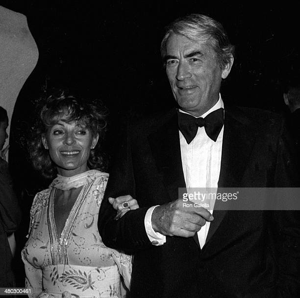 Gregory Peck and Veronique Peck attend Rod Stewart Birthday Party on April 11 1980 at his home in Beverly Hills California