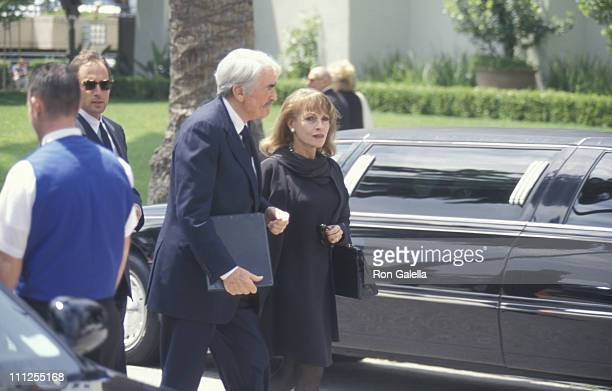 Gregory Peck and wife during Funeral of Frank Sinatra at Little Shepherd Catholic Church in Beverly Hills California United States
