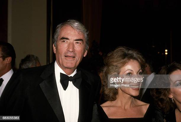 Gregory Peck and wife Veronique circa 1981 in Los Angeles California