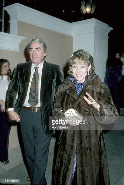 Gregory Peck and wife Veronique during Rod Stewart's Birthday Party January 10 1981 at Rod Stewart's Home in Beverly Hills California United States