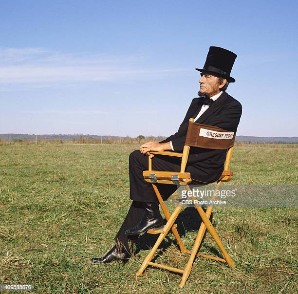 Gregory Peck during an off camera moment appears in The Blue and the Gray the epic miniseries about the American Civil War originally broadcast in...
