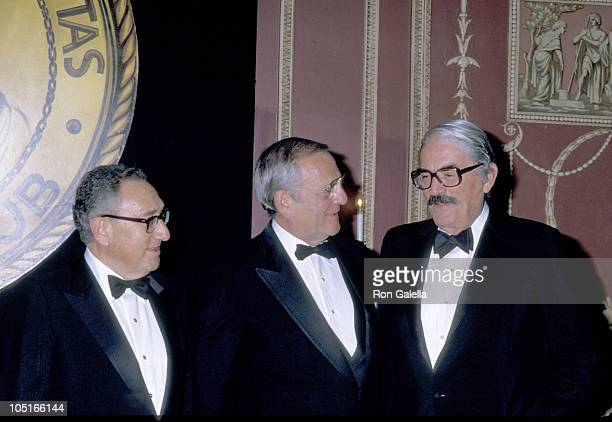 Gregory Peck Lee Iacocca Henry Kissinger during Friars Club Salute to Barbara and Frank Sinatra at Waldorf Hotel in New York City New York United...