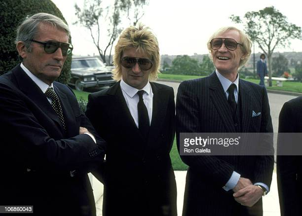 Gregory Peck Rod Stewart and Richard Harris during David Janssen's Funeral Service February 17 1980 at Hillside Memorial Park in Los Angeles...